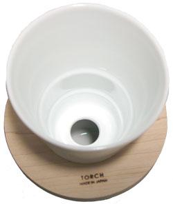 白い磁器製、1つ穴のドーナツドリッパー